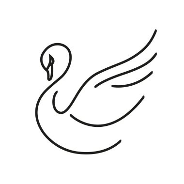 Swan. Linear icon isolated on white background. Vector graphics.