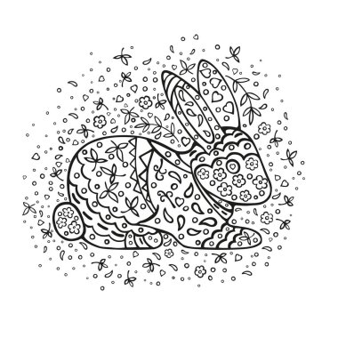 Coloring page. Cartoon rabbit, decorated with ornaments. Vector doodling isolated on white background.
