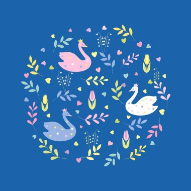 Cute cartoon swans, flowers, leaves. Seamless color vector on blue background.