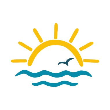 Sea,sun, gull. Vector color icon, logo for the theme of travel and tourism.