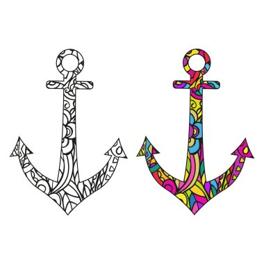 Template for coloring book. Ship anchor. Isolated color and black and white vector graphics on a white background.
