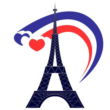 Silhouette of the Eiffel Tower and the three hearts of the colors of the flag of France. Isolated color illustration on white background.