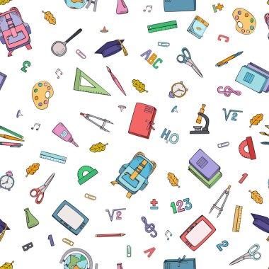 School supplies. Seamless handmade design. Vector colorful illustration.