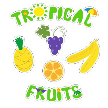 Tropical fruits and funny inscriptions. Set of bright fruit stickers. Vector isolated illustration on white background.