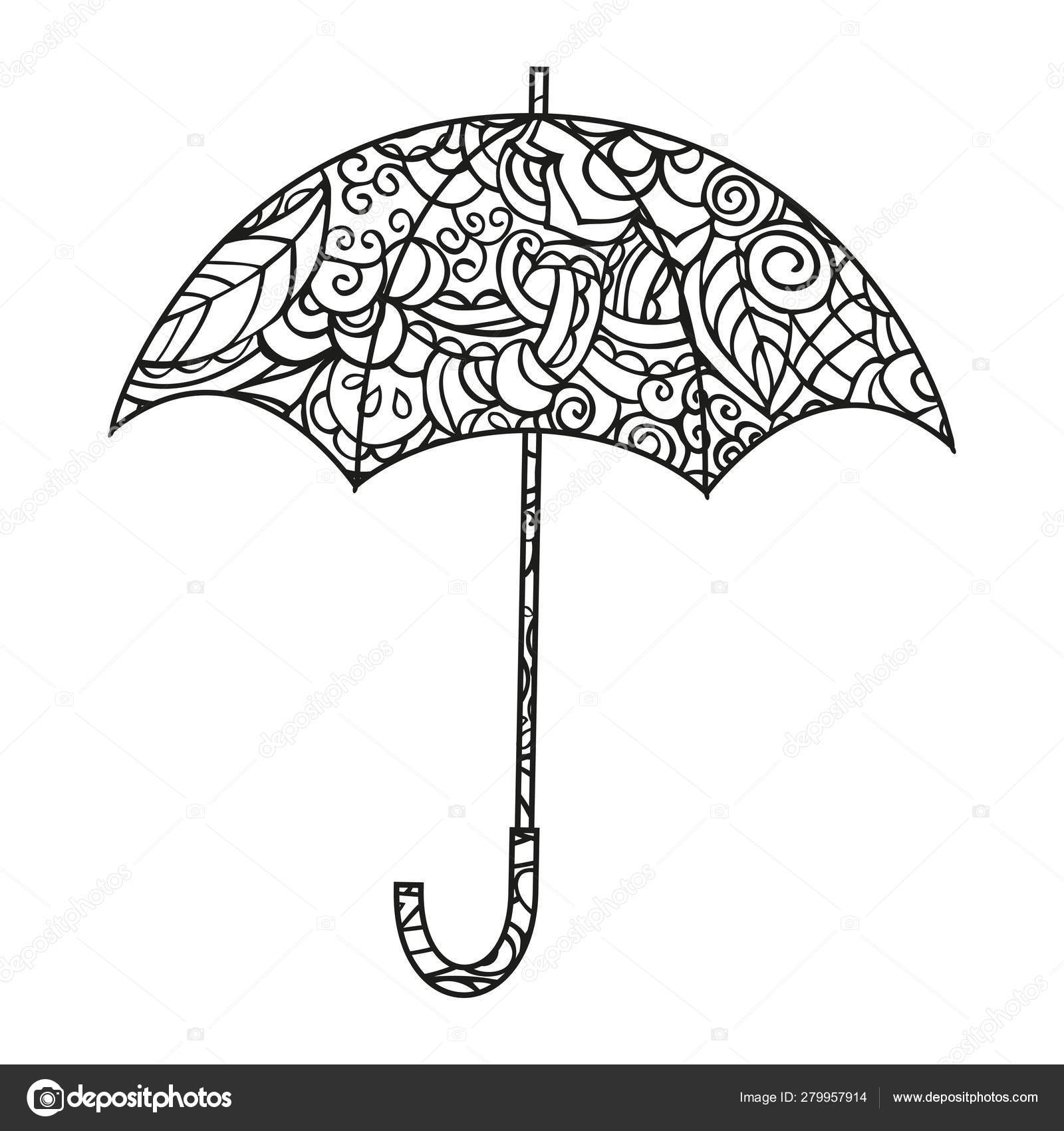 Umbrella Coloring Page Isolated Black White Vector ...