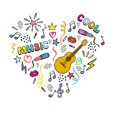 The heart of the guitar, musical signs and symbols. Decorative composition. Color vector illustration isolated on white background.