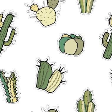 Seamless vector pattern of stickers with different cacti.