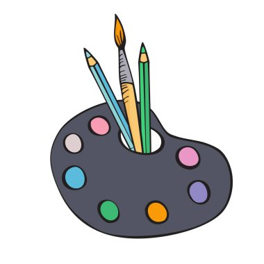 Back to school. School drawing tools. Isolated illustration on white background. Colorful vector hand drawing.