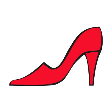Red women's shoe with heels. Vector icon isolated on white background.