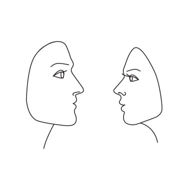 Linear drawing of female and male faces in profile. Vector illustration isolated on a white background.