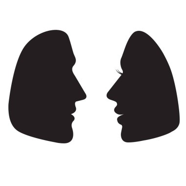 Silhouettes of male and female faces in profile. Vector black icons isolated on white background.