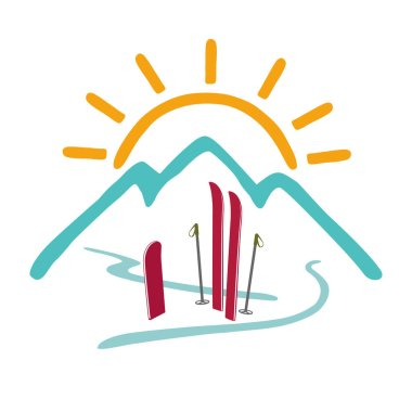 Mountains, sun, skiing, snowboarding. The concept of a healthy lifestyle, outdoor activities. Vector color logo. Isolated illustration.