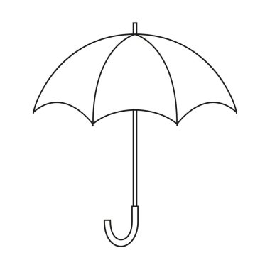 Opened umbrella. Black and white vector icon. Template for coloring and design isolated on a white background.