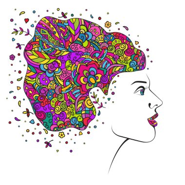 Profile of a girl with a hairstyle from multi-colored patterns. Vector doodle. Hand drawing isolated on a white background.