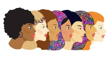 Women's faces of different nationalities and cultures. Color vector hand-drawing. Isolated illustration in a flat style.