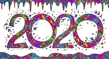 New Year's card, banner with numbers, stylized decorative snowdrifts and icicles. Vector colorful bright doodling.
