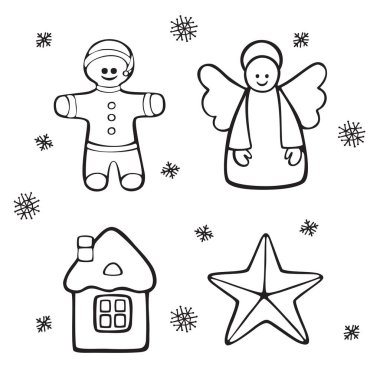 Set off Christmas and New Year  symbols and objects. Vector cartoon hand drawn icons.Black and white illustrations for coloring pages. Isolated on white background.