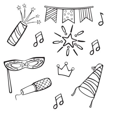 Set of icons and objects for holiday parties and events. Vector cartoon hand drawn icons.Black and white illustrations for coloring pages. Isolated on white background.