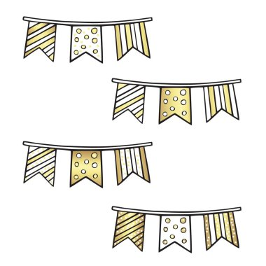 Set of holidays accessories. Vector cartoon illustration of four types of garlands with flags in black and white and gold colors.