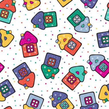 Cute cartoon houses with snowflakes on the background of bright dots. Winter Christmas color vector drawing.