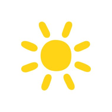 Sun drawn in cartoon style. Yellow isolated icon on a white background.
