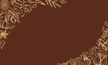 Spice herbs for delicious cooking. Isolated golden vector border frame on brown background. Stylized hand drawing.