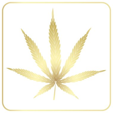 Cannabis leaf. Golden iIsolated icon, logo on a white background. Silhouette isolated in a frame.
