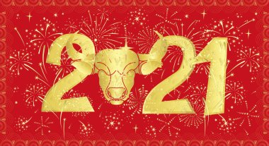 Festive banner with the head of a bull as a symbol of the year according to the Chinese calendar. Bright vector with golden gradient on a red background.