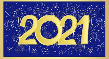 Golden 2021. Vector New Year banner on a blue background with festive fireworks.