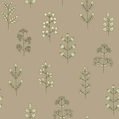 Vertical floral seamless pattern with a variety of twigs and flowers. Vector hand drawing in scandinavian style.