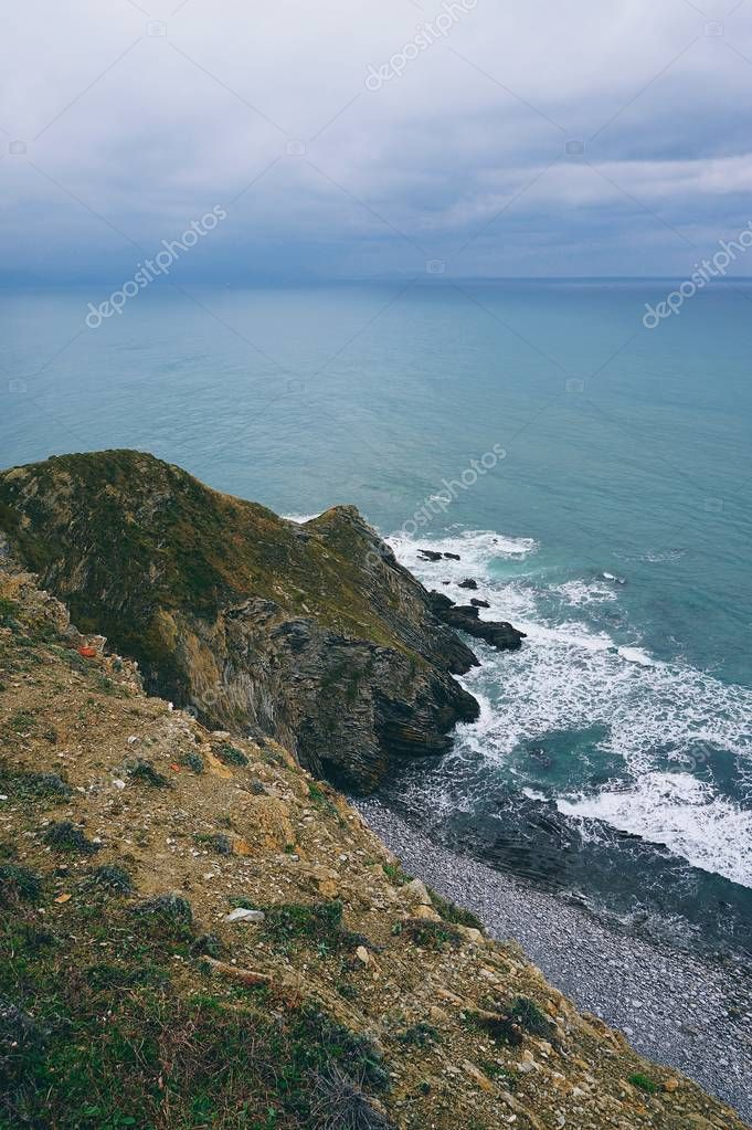 the cliff in the coast