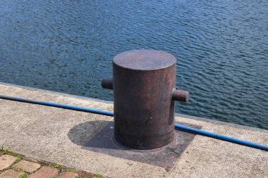 Close up view on bollards at the port of Kiel in Germany