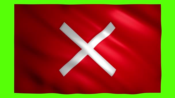 X symbol on moving red flag on green screen for chroma key
