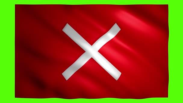 X-Symbol beim Bewegen roter Flagge auf grünem Bildschirm für Chroma-Taste