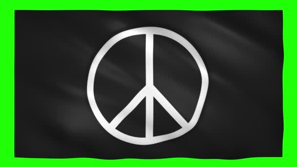 Peace symbol on the black flag moves in the wind on green screen for chroma key
