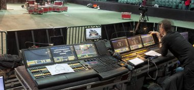 control panel for lighting equipment at the concert.