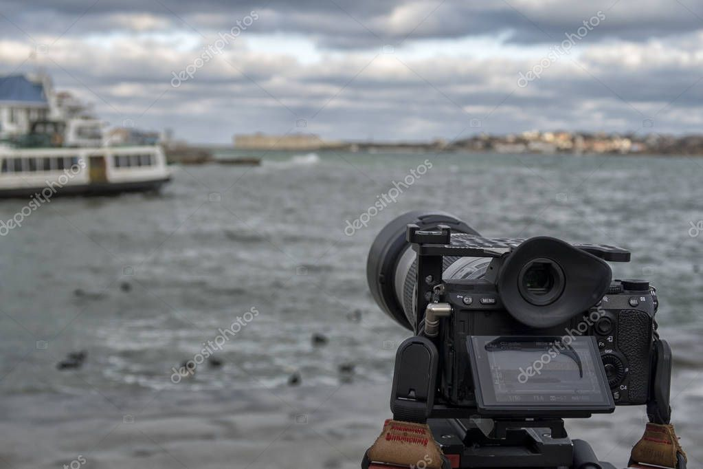 professional video camera on the shooting of natural landscapes.