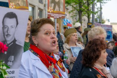 MOSCOW, RUSSIA - MAY 9, 2019: Immortal regiment procession in Victory Day.