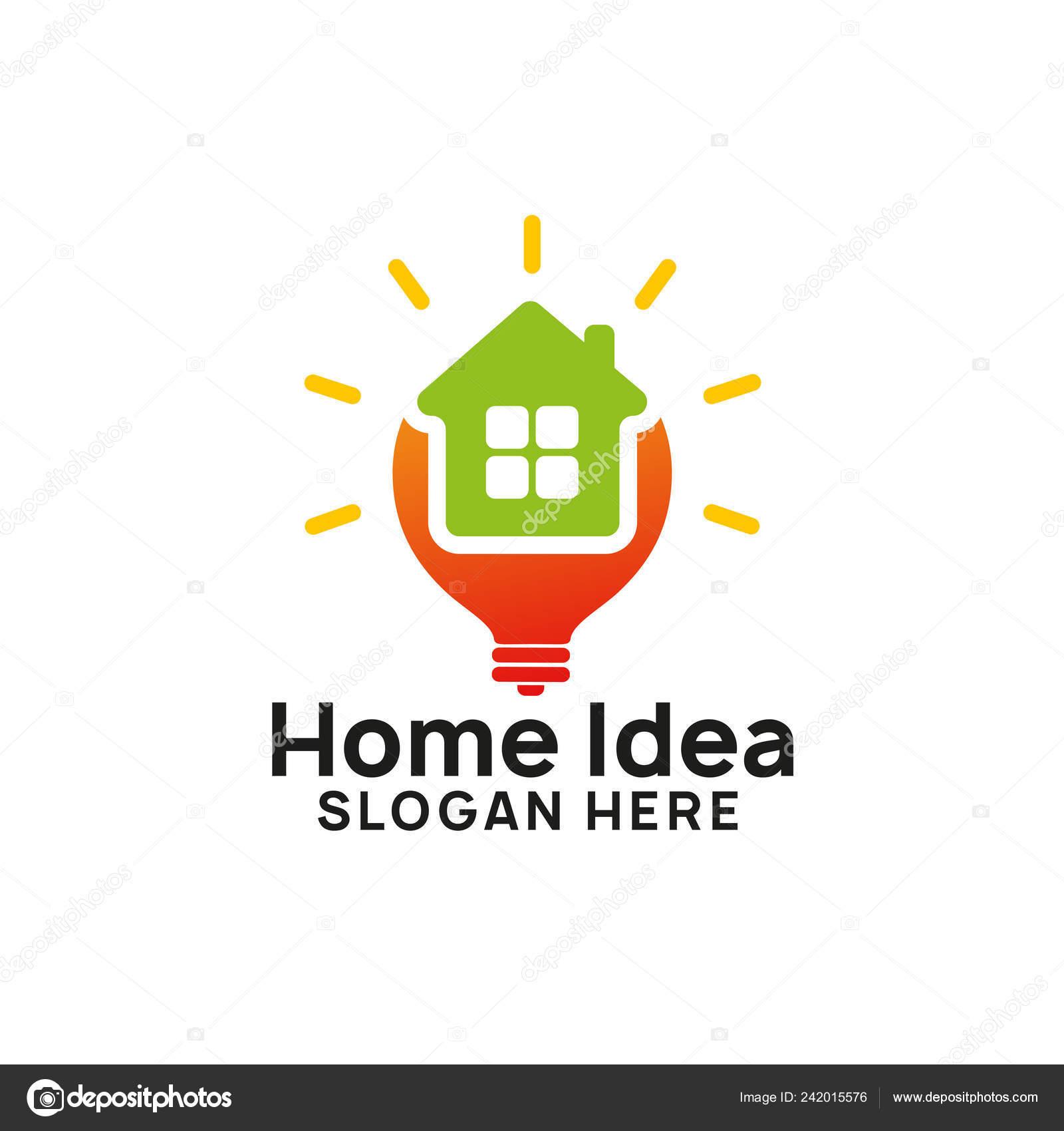 Creative Home Idea Logo Designs Template Stock Vector