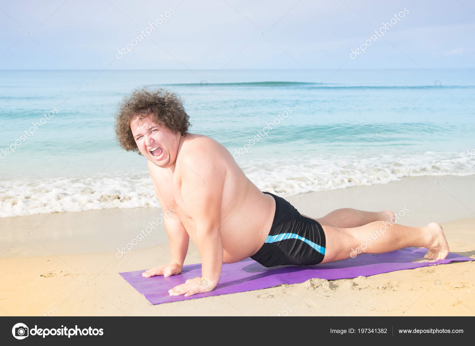 Funny Fat Man Sea Training Healthy Lifestyle Yoga Beach Stock Photo