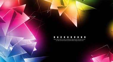 abstract background with glowing triangles that overlap. isolated black background. vector illustration of eps 10