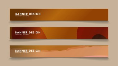 Design abstract banners with wave vectors and wood color gradients