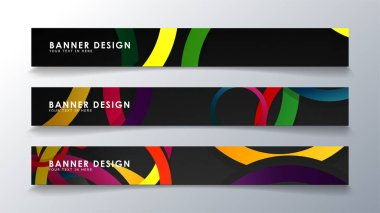 Set rectangular banner with a circle background colorful