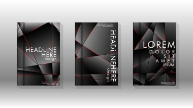 The background of the cover design pattern. Red triangle line. Vector front page font