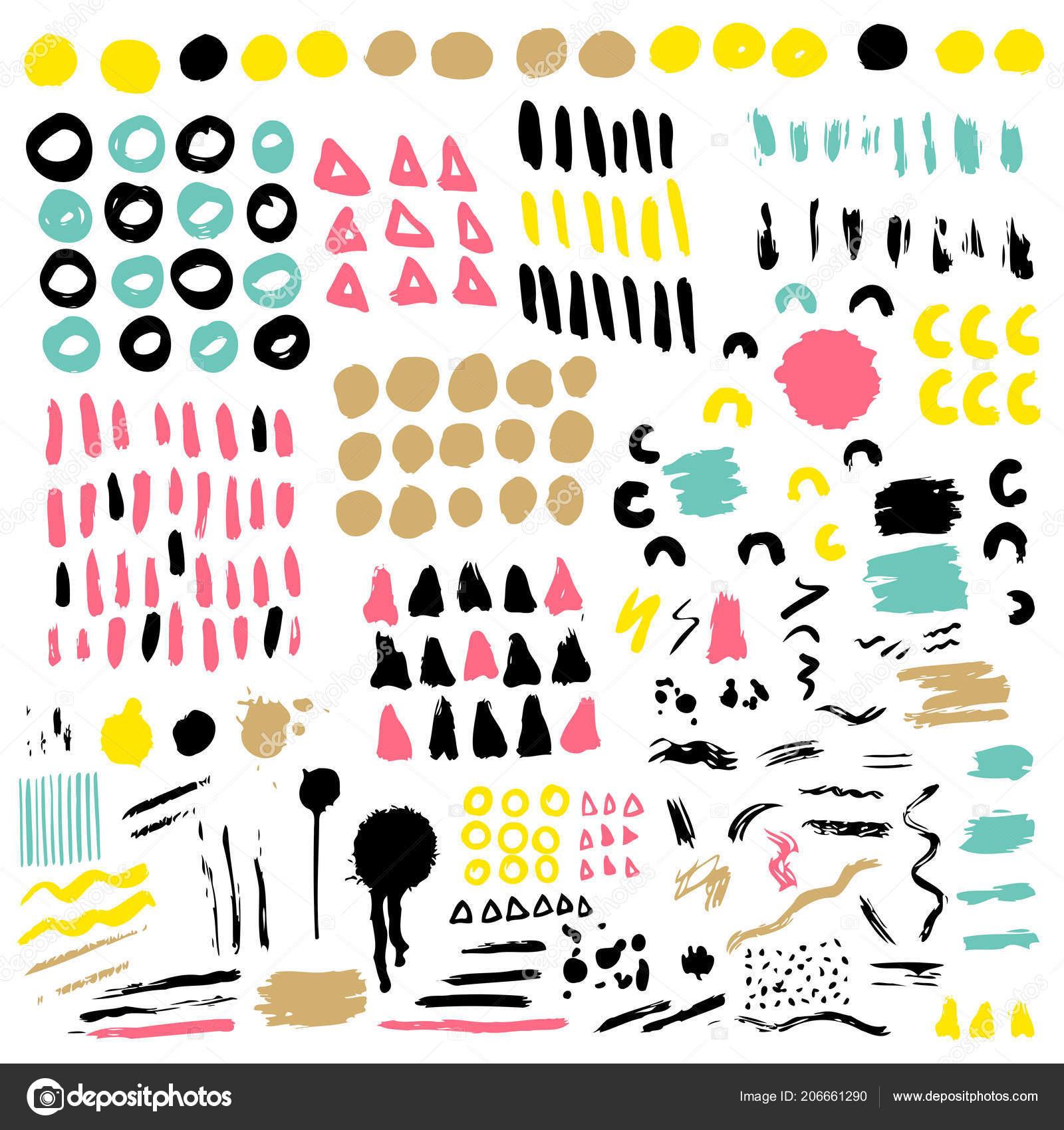 Trendy Vector Colorful Set Brush Strokes Design Backgrounds Wallpaper Cover Stock Vector C Tolchik 206661290