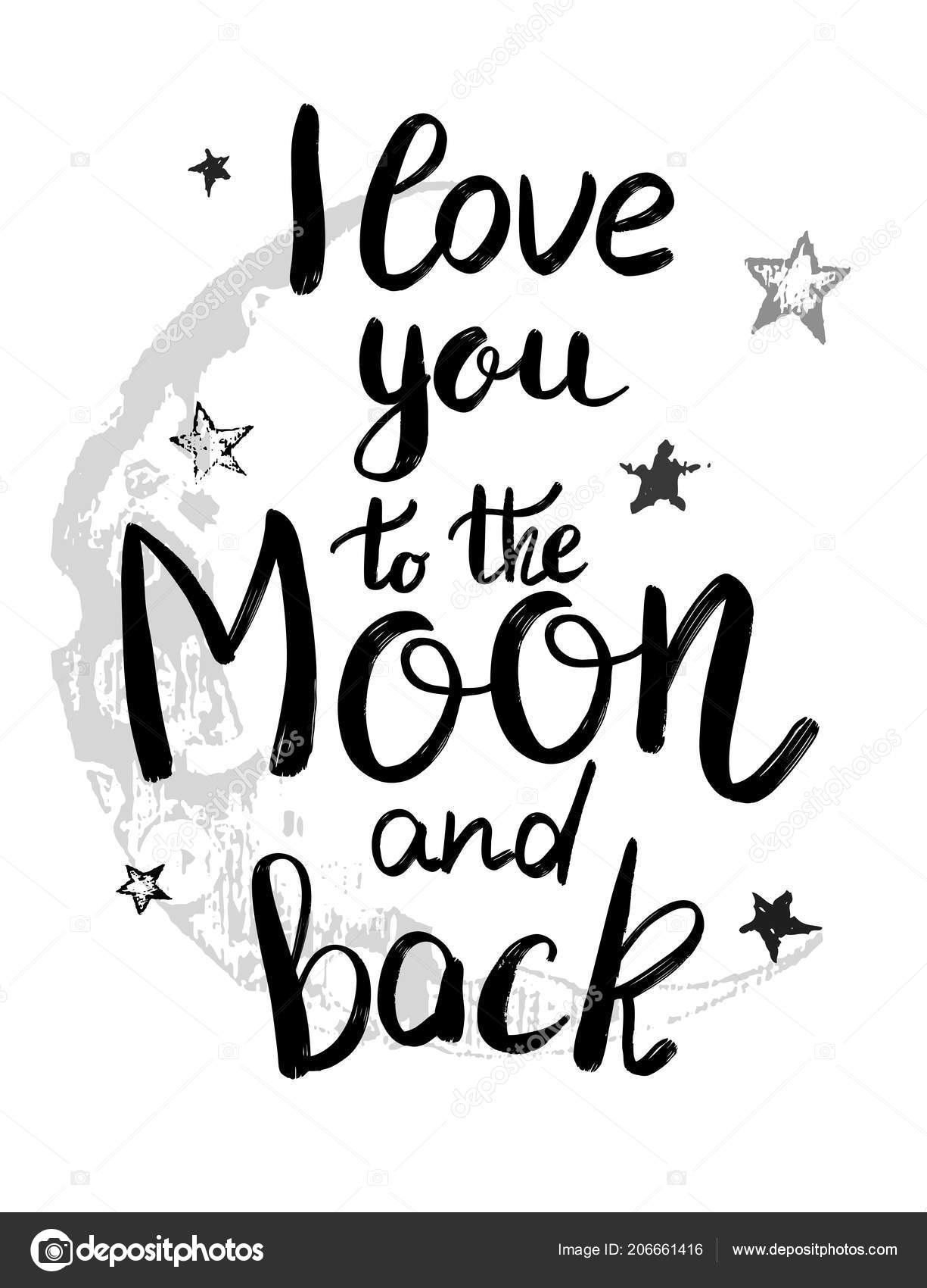 love you moon back template card poster holiday lettering greeting