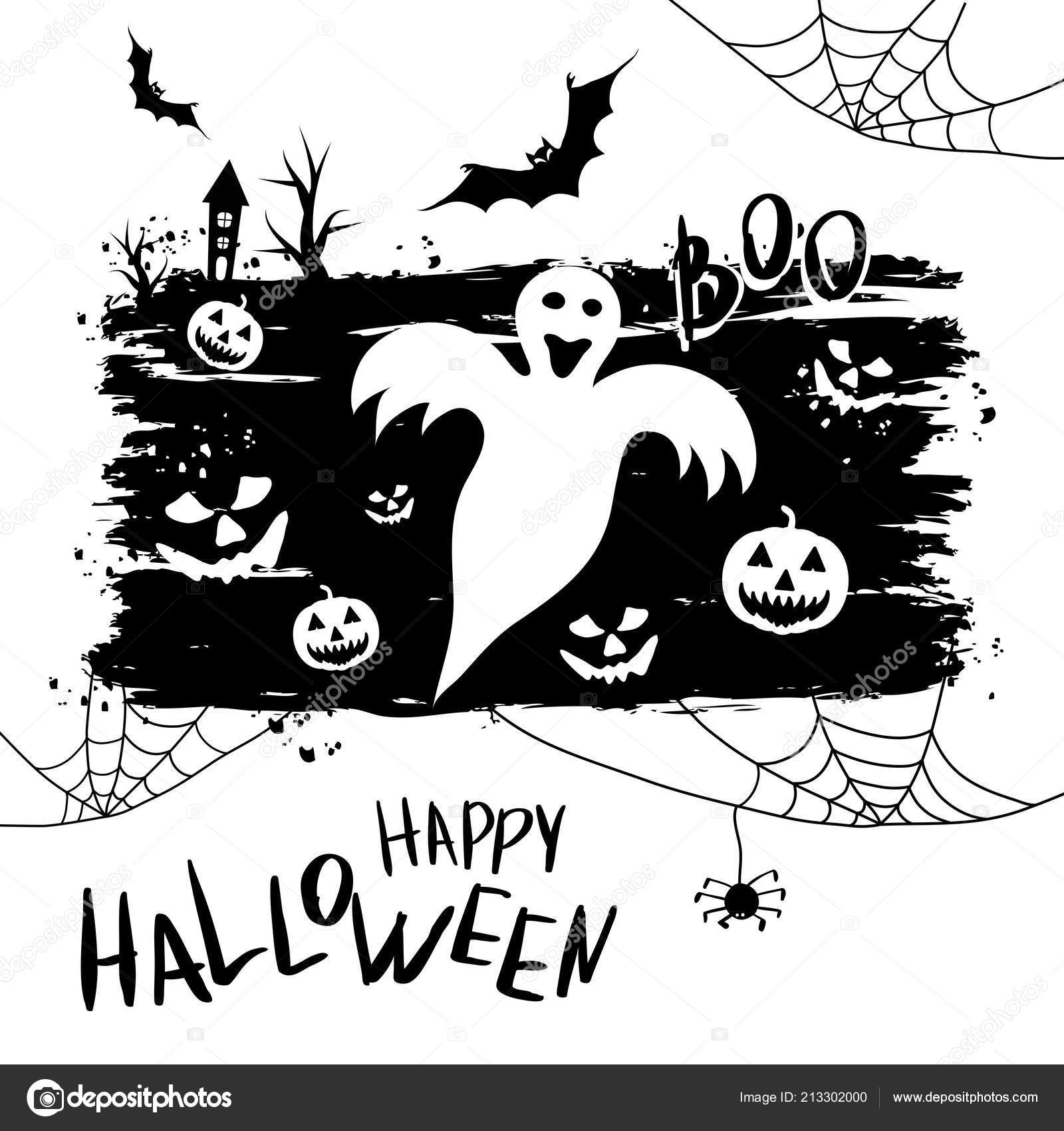 Happy Halloween Template Banner Poster Holiday Lettering Spider Web Vector
