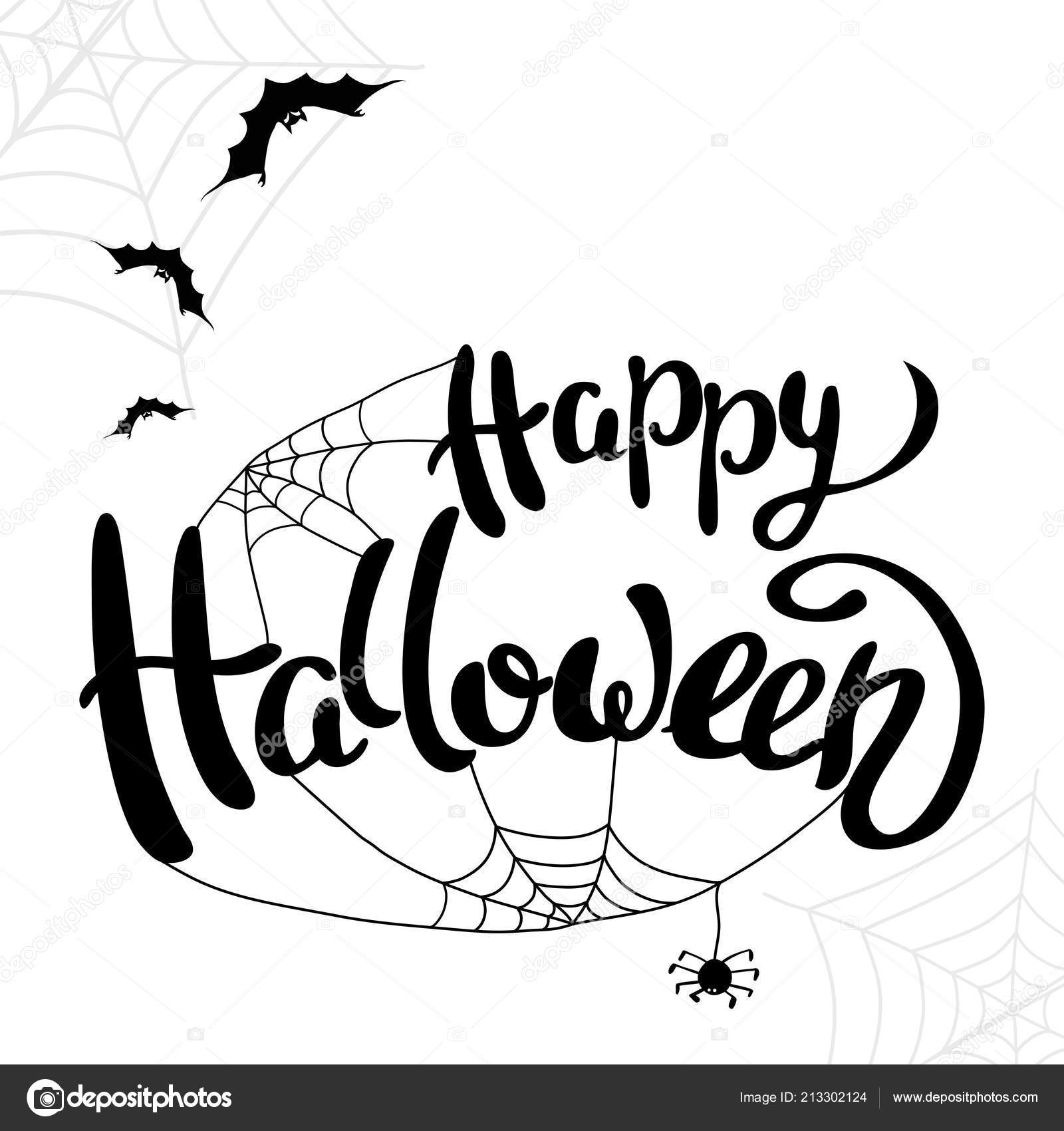 happy halloween template banner poster holiday lettering spider web