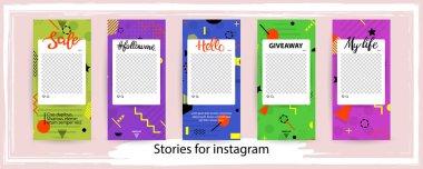 Trendy editable template for social networks stories , vector illustration. Design backgrounds for social media.