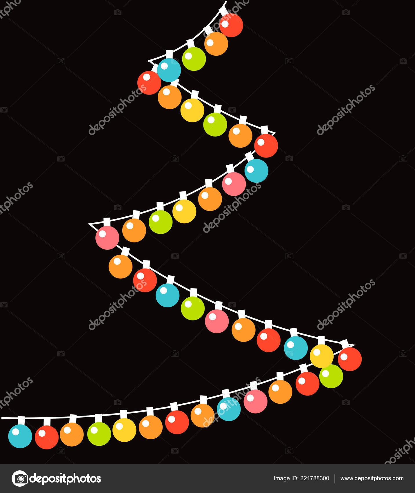 Colorful Christmas Tree Vector.Colorful Christmas Baubles Lights String Christmas Tree